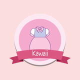 cute girl clothes kawaii style with ribbon vector illustration design - 209405607