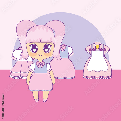 kawaii girl with set clothes vector illustration design - 209405831
