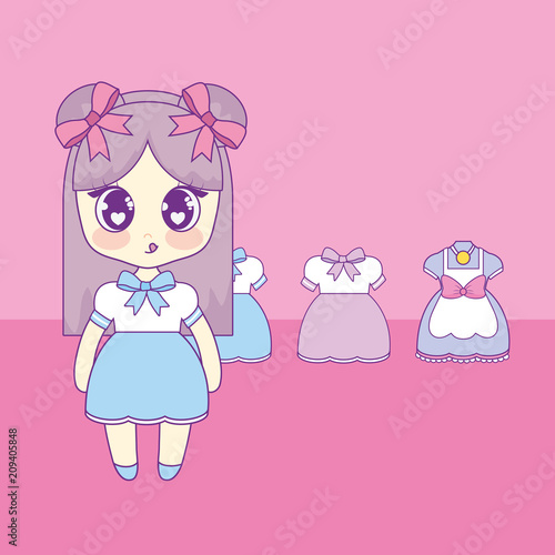 kawaii girl with set clothes vector illustration design - 209405848
