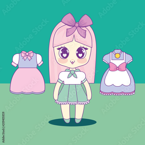 kawaii girl with set clothes vector illustration design - 209405859