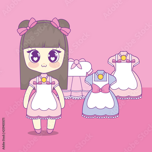 kawaii girl with set clothes vector illustration design - 209405871
