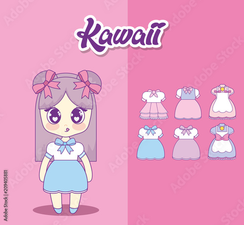 kawaii girl with set clothes vector illustration design - 209405881