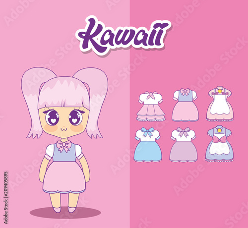 kawaii girl with set clothes vector illustration design - 209405895