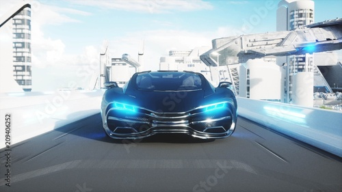 black-futuristic-electric-car-very-fast-driving-in-sci-fi-sity-town-concept-of-future-3d-rendering