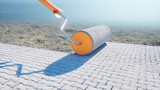 A roll of paving slab. Brush of paving slab. Building concept. 3d rendering. - 209406404