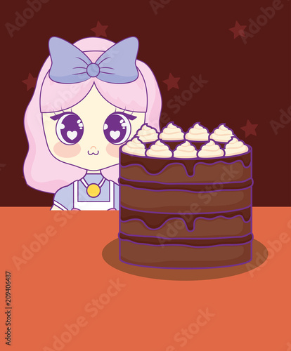 cute kawaii girl with cake birthday card vector illustration design - 209406487