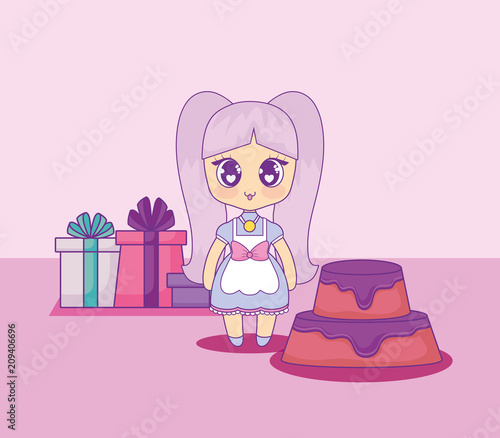cute kawaii girl with cake birthday card vector illustration design - 209406696