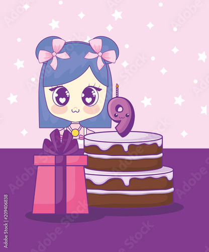 cute kawaii girl with cake birthday card vector illustration design - 209406838