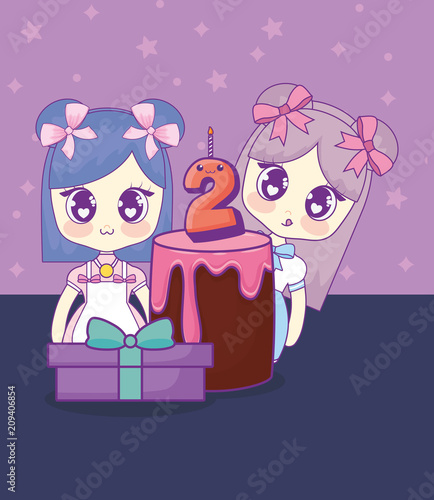cute kawaii girls with cake birthday card vector illustration design - 209406854