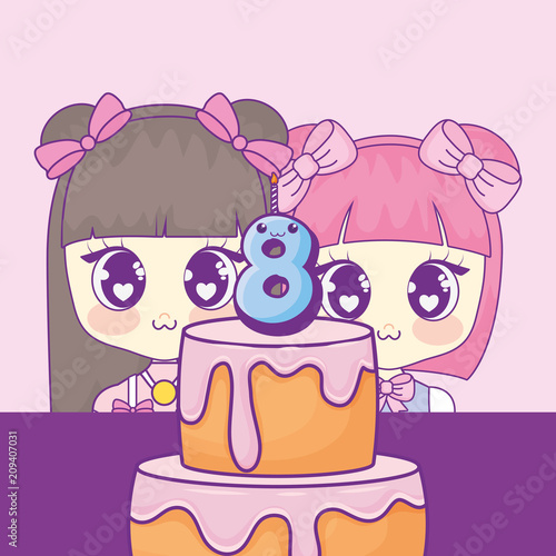 cute kawaii girls with cake birthday card vector illustration design - 209407031