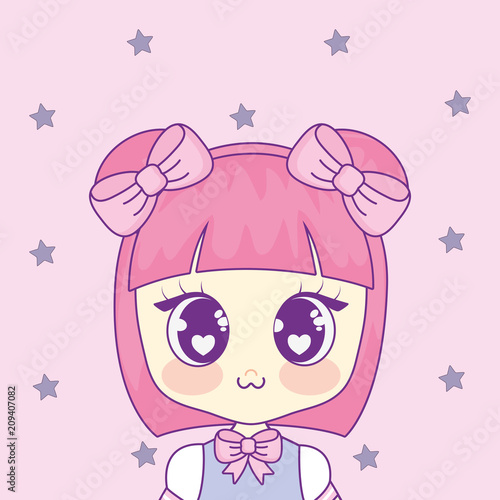 cute kawaii girl character vector illustration design - 209407082