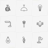 Light line icon set with street lamp, lantern and light bulb - 209407430