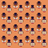 background of cute porcupine and deer  with top hats pattern, colorful design. vector illustration - 209407433