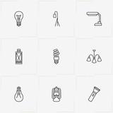 Light line icon set with lantern, light bulb and floor lamp - 209407445