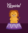 circus lion over purple background, colorful design. vector illustration
