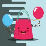 kawaii gift bag and balloons decoration happy birthday card vector illustration - 209408867