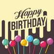 happy birthday card bubbles in stick decoration trendy happy birthday card vector illustration