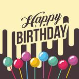 happy birthday card bubbles in stick decoration trendy happy birthday card vector illustration - 209409241