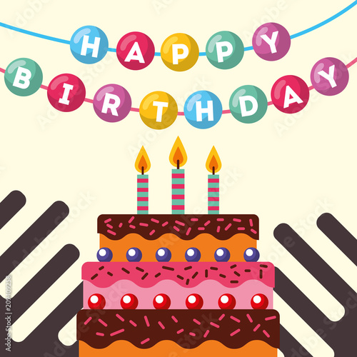 sweet cake and hanging lettering happy birthday card vector illustration - 209409258