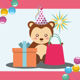 gift box and bag cute monkey party hat happy birthday vector illustration - 209409666