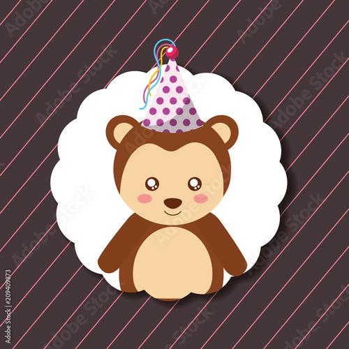 cute monkey party hat decoration label happy birthday vector illustration