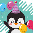 cute penguin balloons happy birthday greeting card vector illustration