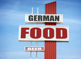 aged german food and beer sign - 209415883