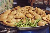 Traditional Indian street food, Fried Kachori and samosa - 209429612
