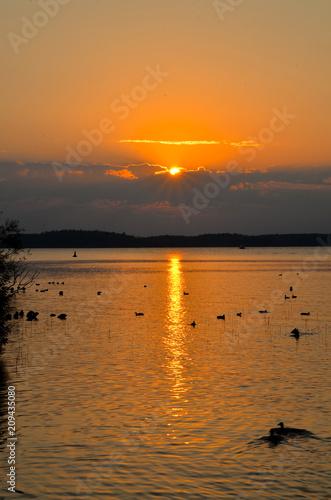 Leinwanddruck Bild Sonnenuntergang Waren Müritz