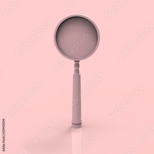 Magnifying glass pastel 3D render