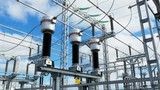 large electrical transmission station with cables and insulators - 209443672