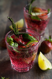Natural lemonade with strawberry lime and herbs