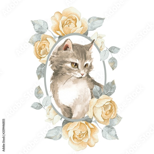 Cat. Cute kitten and roses. Watercolor illustration - 209446803