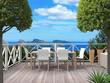 Urlaub - Terrasse mit aussicht auf die Küste und das Meer
