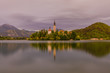 Lake Bled with island and a church on it, in background, Bled , Slovenia - 209450674