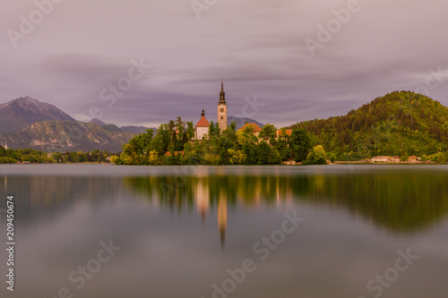 Foto Murales Lake Bled with island and a church on it, in background, Bled , Slovenia