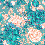 Vector vintage pattern with roses and peonies. Retro floral wallpaper, colorful backdrop