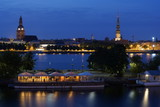 Landscape of Riga and the Daugava river at night