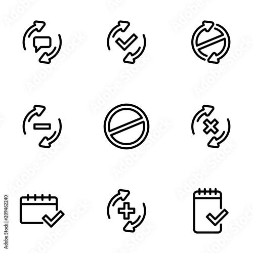 Set of black icons isolated on white background, on theme Check mark, line style