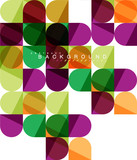Round square geometric shapes on white, tile mosaic abstract background - 209464891
