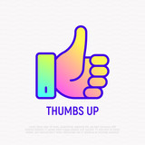 Thumbs up thin line icon with gradient. Modern vector illustration of approval sign, yes, ok. Modern vector illustration. - 209469044