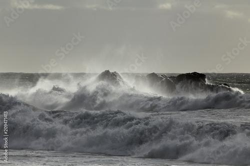 Rough sea spray