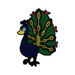 Peacock cartoon illustration isolated on white background for children color book