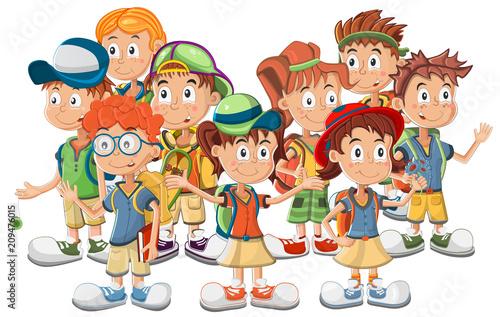 Group of School Children vector illustration - 209476015