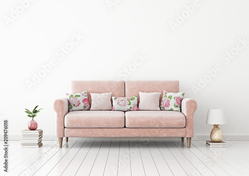 Interior wall mock up with pink pastel sofa, flower pattern pillows, pineapple lamp, books and plant in vase in living room with empty white wall. 3D rendering. - 209476018