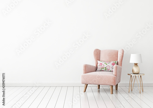 Interior wall mock up with pastel pink armchair, flower pillow and pineapple lamp in living room with empty white wall. 3D rendering. - 209476075