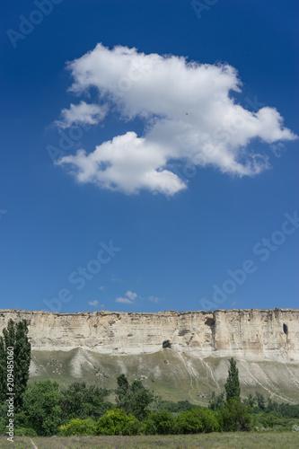 Aluminium Nachtblauw Landscape overlooking the white rock in the Crimea
