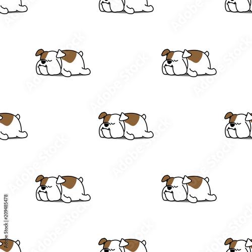 fototapeta na ścianę Cute bulldog sleeping seamless pattern, vector illustration