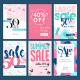 Set of mobile summer sale banners. Vector illustrations of online shopping ads, posters, newsletter designs, coupons, social media banners and marketing material. - 209485613