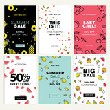 Mobile sale banner templates. Vector illustrations of online shopping ads, posters, newsletter designs, coupons, social media banners and marketing material. - 209486000